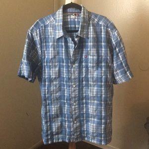 Mens Blue Quiksilver Button Up Collared Shirt